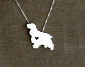 Cocker Spaniel necklace, tiny sterling silver hand cut dog pendant with heart