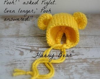 "Pooh Bear Bonnet, ""Hunny Bear"" Knit Baby Hat, Cub, Newborn Hand Knitted Cap, Infant Photo Prop,Winnie the Pooh, Yellow"
