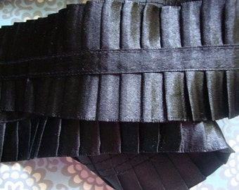 "2"" Wide Black Satin Pleated Ribbon Black Trim Pleated Trim Ruffle Trim Made in Usa S111"