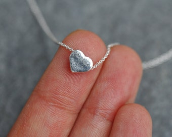 Sterling silver heart necklace, tiny silver heart necklace, 0.925 silver heart