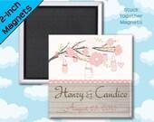 Rustic Wedding Favor Magnets - Mason Jars in Blush Pink - 2 Inch Squares - Set of 10 Magnets