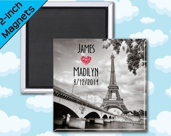 Eiffel Tower Wedding Favor Magnets - 2 Inch Squares - Set of 10 Magnets