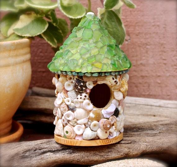 Hawaiian Seashell Birdhouse - Sea Glass Decor from Hawaii - Beach Cottage Decor Shell Birdhouse made in Hawaii - Hawaii Sea Glass Bird House