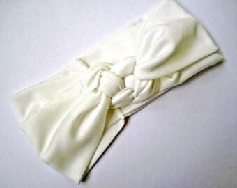 Sailor knot headband, nautical headband, White