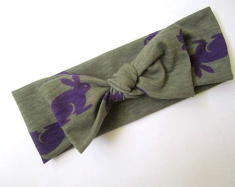 Bow turban headband Bunny print