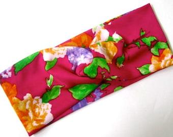 Twisted Turban headband Hot pink floral print