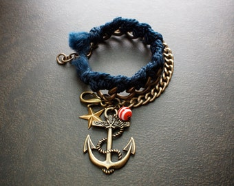Navy Blue Braided Friendship Bracelet with Heavy Antique Brass Curb Chains and Giant Anchor Charm