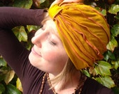 Goldenrod and coral turban –