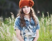 Orange Crochet Hats for Girls, Beret with Flower, Girl's Slouch Hat, Fall Accessories, Slouchy Beanie for Girls, 5T - Teen