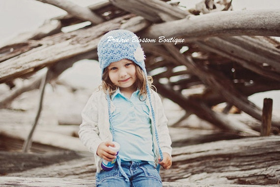 Toddler Girl Hat, Blue Girl's Earflap Hat, Crochet Toddler Hats, Crochet Hat for Toddlers, Cotton, 12 Months to 4T