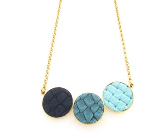Blue Leather 24k gold-plated Necklace