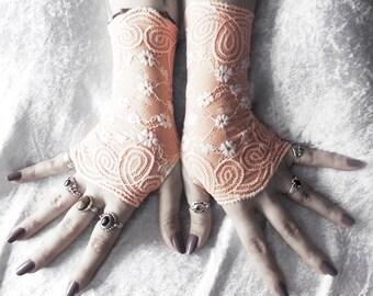 Vignette Lace Fingerless Gloves - Pale Peach Pink Blush w/ White Floral - Wedding Gothic Victorian Vampire Regency Bridesmaid Austen Bridal