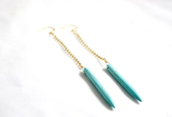 Long turquoise magnesite tube earrings
