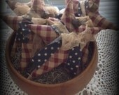 Set of 4 Primitive Ornies Bowl Fillers Burgundy Homespun Navy with Stars Cheesecloth Rusty Safety Pin Rusty Star HAFAIR, OFG, AB4B
