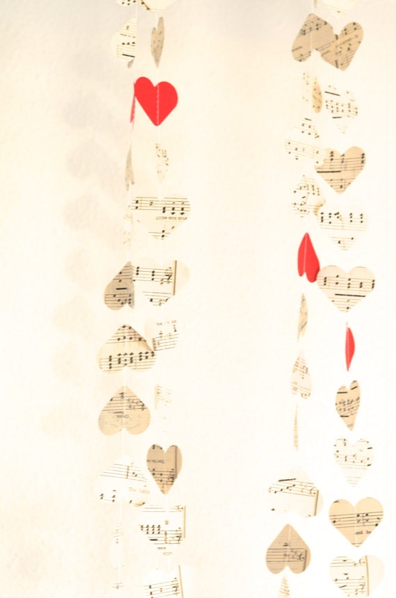 Vintage Music Hearts Garland with Pops of Color - you choose the color!