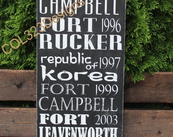 Custom Duty Station Subway Art Sign Distressed Painted Military Retirement