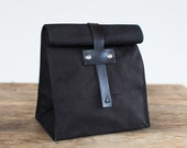 No. 215T Lunch Tote in Black Duck Canvas & Leather