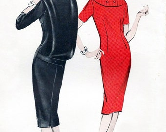 "50s dress pattern - Butterick 8773 - 1950s misses seath dress with blouson panel - 34"" bust - uncut factory folded"