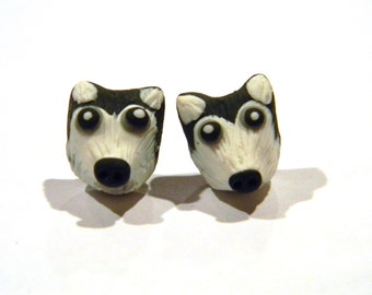 Dire Wolf - Siberian Husky - Alaskan Malamute Inspired Earrings - Animal Jewelry Accessories - Handmade Polymer Clay Gifts Under 20, 25, 50