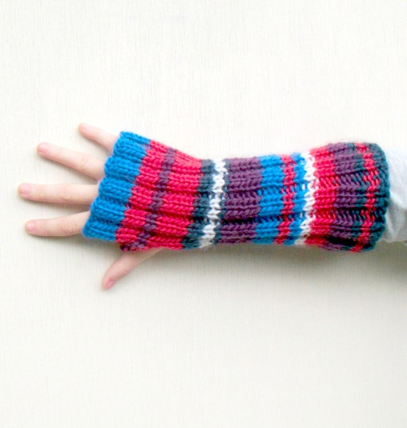 Striped Fingerless Gloves, Long Gloves, Hand Knitted Womens Fashion, Chunky Knitwear, Winter Fashion - Bright Pink, Purple, Blue, White