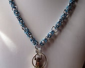 Byzantine Chainmaille Lanyard Blue and Silver