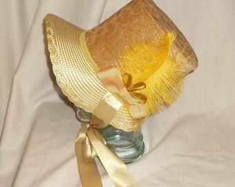 Gold and Ivory Stovepipe Bonnet- Regency, Georgian, Jane Austen Era Bonnet