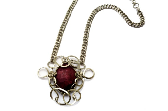 Red Ruby Necklace, Chainmaille Necklace, Gemstone Necklace, Ruby Pendant, Wire Wrap Pendant, Gothic Necklace, Silver Necklace
