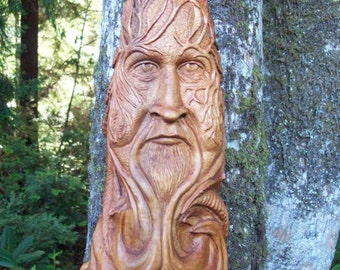 one-of-a-kind gothic green man, hand carved wood spirit for wall decor in a living room or man cave, medieval looking art sculpture