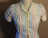 vintage inspired Pastel striped blouse