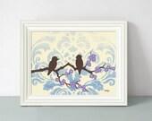 Bird Art Print, Blue Ombre Home Decor