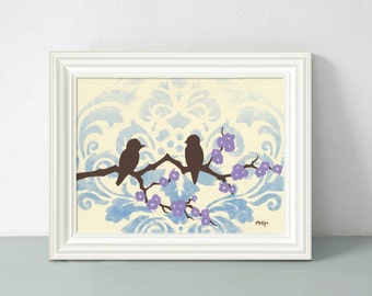 Bird Art Print, Blue Ombre Home Decor