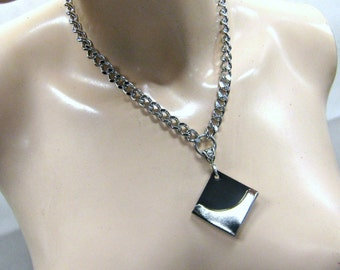 BDSM Day Collar Leather and Chrome Chain Necklace Submissive Slave Collar or Choker Lockable