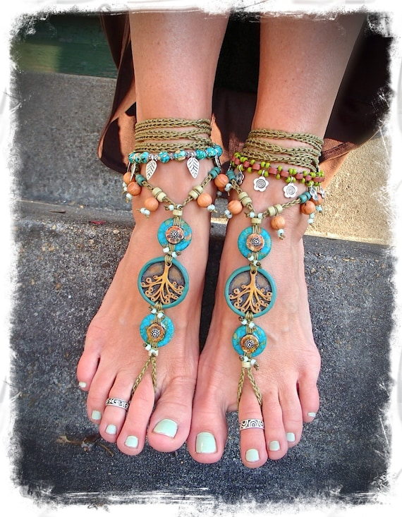 Yggdrasil Tree Of Life Barefoot Sandals Turquoise Stone