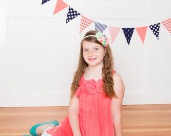 Bunting, Banner, Garland Fabric Flags, Nautical Girl, Navy Blue, Coral, Anchors, Chevron, Baby Nursery Decor, Wedding Garland, Birthday