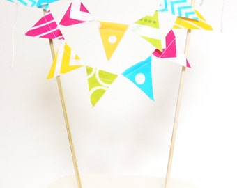 Birthday Party Banner Cake Topper, Wedding Cake Bunting, Girl Birthday Party, Baby Shower, Bridal Shower Banner, Pink, Yellow, Lime, Aqua