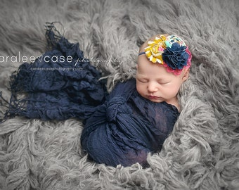 When Time Flies - mustard, aqua, navy and hot pink rosette, chiffon and burlap headband
