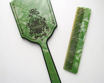 Antique Mirror And Comb Set c.1920s