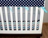 Rail Guard Baby Bedding, Bumperless Crib Set, Royal Blue Aqua Navy Gray Polka Dot Chevron Crib Bedding