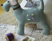 miniature Bertie dog blue pincushion, plushie, felt dog plush pin cushion, puppy pin cushion,handmade dog sewing accessory made by FRALINE
