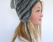 Hand knit beanie Earflap hat black and white chullo - SallyAnnaBoutique