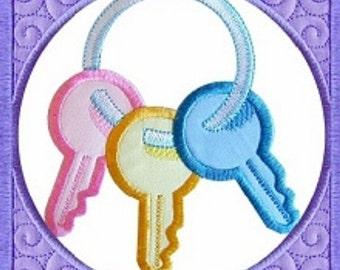 Machine Embroidery Design Baby Quilt Block Keys