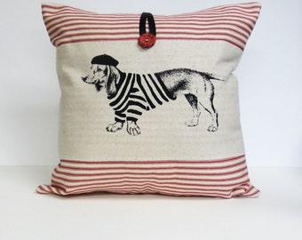 Red Stripe Dachshund Pillow, Red Ticking Stripe Dachshund Print Pillow, Red Ticking Stripe Cotton, Dachshund Cushion, Dog Pillow Cushion