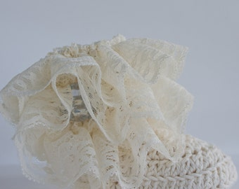 Cream Lace Ruffle Baby Crochet Boots- Choose Your Size