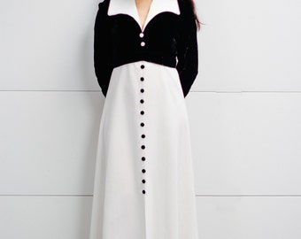 Black and White 1970's Maxi Dress with Velvet Bodice and Buttons