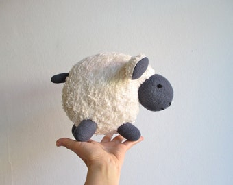 Organic sheep toy, lamb, organic, soft, animal, white, grey, plushie, baby, toddler, shower gift