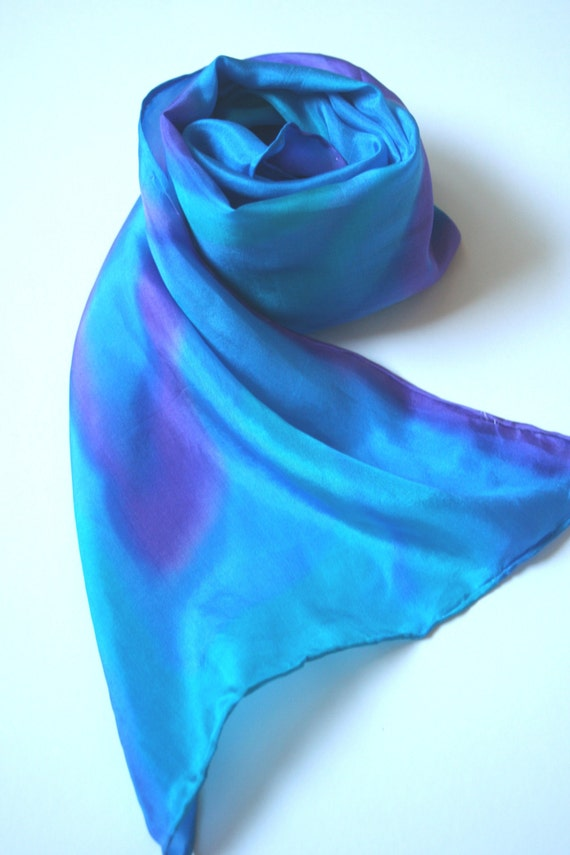 Turquoise Scarf. Jewel Tones. Cool Waters. Hand Painted Silk Scarf. Summer Dreams