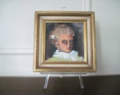 the Southern Belle, vintage original oil painting in ornate frame - lady, portrait, art, original