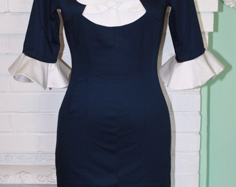 Sexy Secretary Wiggle Work Dress-1950s 1960s Style Navy & White Ruffles - Custom Size