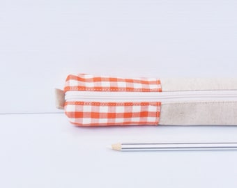 Retro Plaid Linen Pencil Case, Orange White Ivory,  Zipper Cotton Pencil Case, Small Cosmetic Pouch