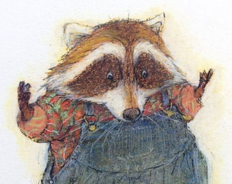 """Original art from """"Little Raccoon Catches A Cold"""", character design of """"the brother""""."""